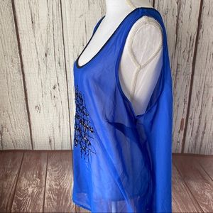 Maurices Tops - Maurices blue sheer sequin sleeveless top 2X